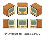 isometric retro tv sets. the... | Shutterstock . vector #308833472