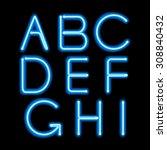 blue neon light glowing letters ... | Shutterstock .eps vector #308840432
