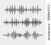 vector sound waves set. audio... | Shutterstock .eps vector #308841512