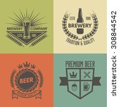 set of vintage beer and brewery ... | Shutterstock .eps vector #308844542