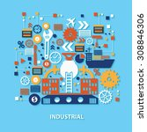 industry concept design on blue ... | Shutterstock .eps vector #308846306
