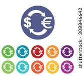 dollar euro exchange icons set  ...