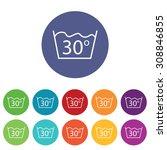 30 degrees wash icons set  on...