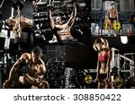 bodybuilding   execute exercise ... | Shutterstock . vector #308850422