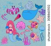 vector set of cartoon sea icons ... | Shutterstock .eps vector #308860502