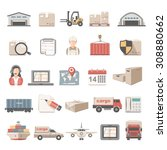 flat icons   logistic | Shutterstock .eps vector #308880662
