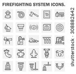 firefighting system and fire... | Shutterstock .eps vector #308882642