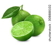 lime fruit with leaf isolated... | Shutterstock . vector #308888102