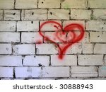 Red Heart On Wall.