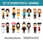 set of full body diverse... | Shutterstock .eps vector #308901425