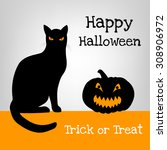 Halloween Card With Black Cat...