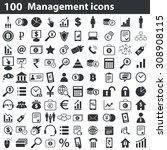100 management icons set  black ...