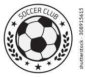 soccer label with sample text.... | Shutterstock .eps vector #308915615