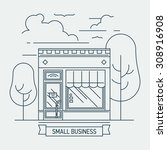 beautiful linear small shop... | Shutterstock .eps vector #308916908