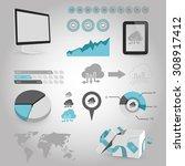 vector illustration of  seo... | Shutterstock .eps vector #308917412