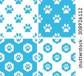 animal paw patterns set  simple ...