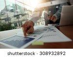 double exposure of business man ... | Shutterstock . vector #308932892