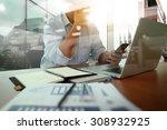 designer hand working and... | Shutterstock . vector #308932925