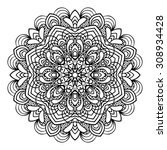 hand drawing zentangle element. ... | Shutterstock .eps vector #308934428