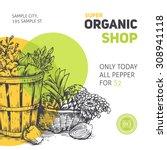 organic food design template.... | Shutterstock .eps vector #308941118