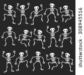 set of dancing skeletons... | Shutterstock .eps vector #308945516