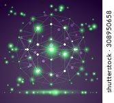 abstract geometric 3d mesh... | Shutterstock . vector #308950658