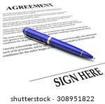 agreement word on document with ... | Shutterstock . vector #308951822