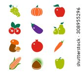 fruit and vegetable vector icon....   Shutterstock .eps vector #308955296
