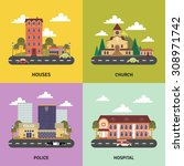 urban landscape 4 flat icons... | Shutterstock .eps vector #308971742