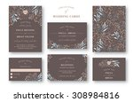 wedding invitation card set.... | Shutterstock .eps vector #308984816