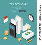 Flat 3d isometric design concepts for business and finance. Concepts for taxes, finance, bookkeeping, accounting, business, stock market, market research, etc. | Shutterstock vector #308985122