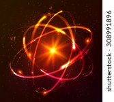 red shining cosmic vector atom... | Shutterstock .eps vector #308991896