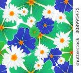 seamless blue flowers. vector   Shutterstock .eps vector #308995472