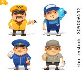 delivery service professions set | Shutterstock .eps vector #309006512