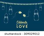 vector hanging mason jars with... | Shutterstock .eps vector #309029012