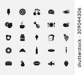 black food icons on white... | Shutterstock .eps vector #309044306