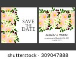 wedding invitation cards with...   Shutterstock .eps vector #309047888