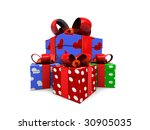 3d illustration, heap of gift boxes over white background - stock photo