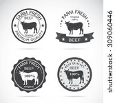 set of vector cow labels on... | Shutterstock .eps vector #309060446