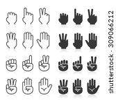 hand gestures line icons set.... | Shutterstock .eps vector #309066212