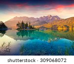 colorful summer sunrise on the... | Shutterstock . vector #309068072