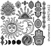 sun  moon and ornaments vintage ... | Shutterstock .eps vector #309071612