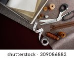 scissor  buttons  zip  tape... | Shutterstock . vector #309086882