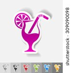 cocktail paper sticker with... | Shutterstock .eps vector #309090098