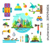 Set Of Hike Elements And Icons...
