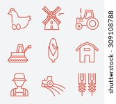farm icons  flat design  thin... | Shutterstock .eps vector #309108788