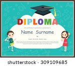 primary school kids diploma... | Shutterstock .eps vector #309109685