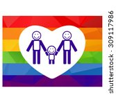 gay couple and child on a... | Shutterstock . vector #309117986