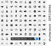 sea vector sticker icons with... | Shutterstock .eps vector #309118466