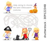 halloween maze game for kids... | Shutterstock .eps vector #309122348